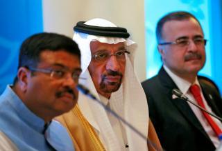 FILE PHOTO: Saudi Energy Minister Khalid al-Falih addresses the media during International Energy Forum in New Delhi