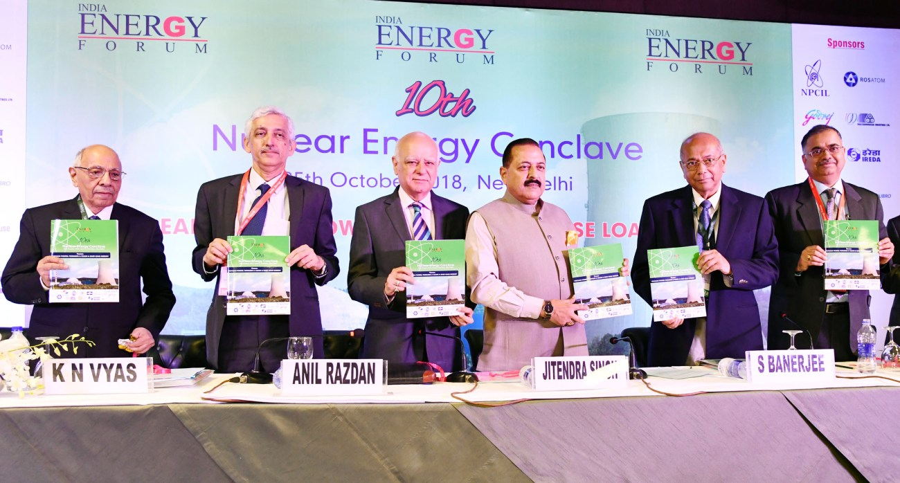 Dr. Jitendra Singh releasing a booklet at the inauguration of the 10th Nuclear Energy Conclave-2-pib