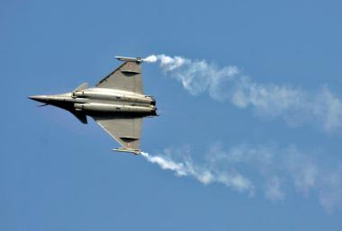 FILE PHOTO: Rafale fighter jet performs during the Aero India air show at Yelahanka air base in Bengaluru