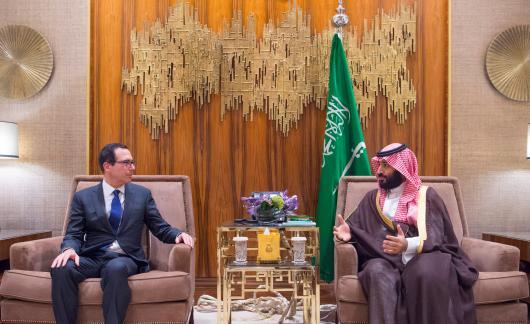 The Saudi Crown Prince Mohammed bin Salman  meets with U.S. Treasury Secretary Steven Mnuchin in Riyadh