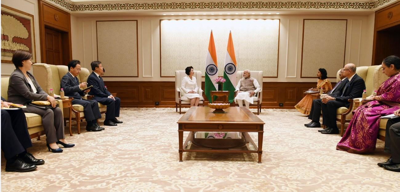 The Prime Minister, Shri Narendra Modi meeting the First Lady of the Republic of Korea, Mrs. Kim Jung-Sook, in New Delhi on November 05, 2018.