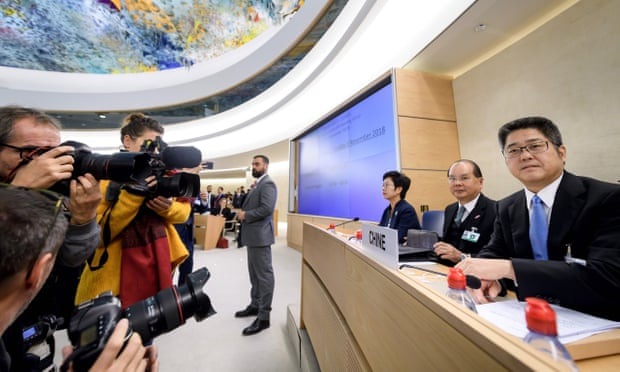 Le Yucheng, right, spoke on behalf of the Chinese delegation at the UN headquarters in Geneva. Photograph- Fabrice Coffrini-AFP-Getty Images
