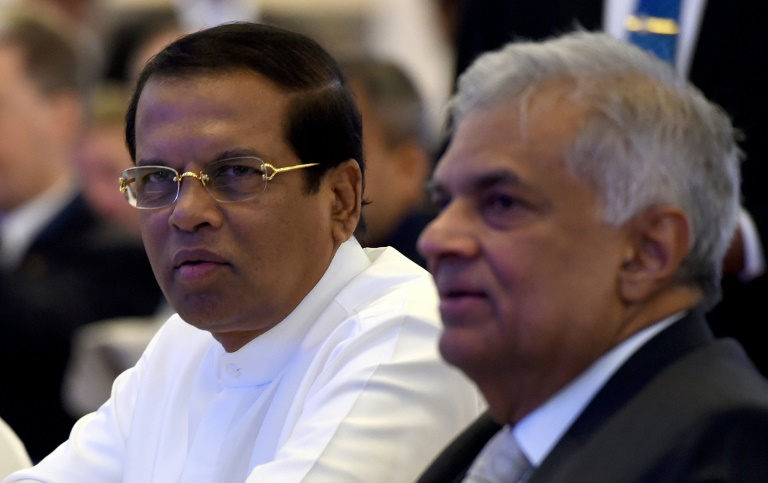 Sri Lankan President Maithripala Sirisena (L) had suspended parliament until November 16 after sacking Prime Minister Ranil Wickremasinghe (R) last Friday but has now compromised-AFP