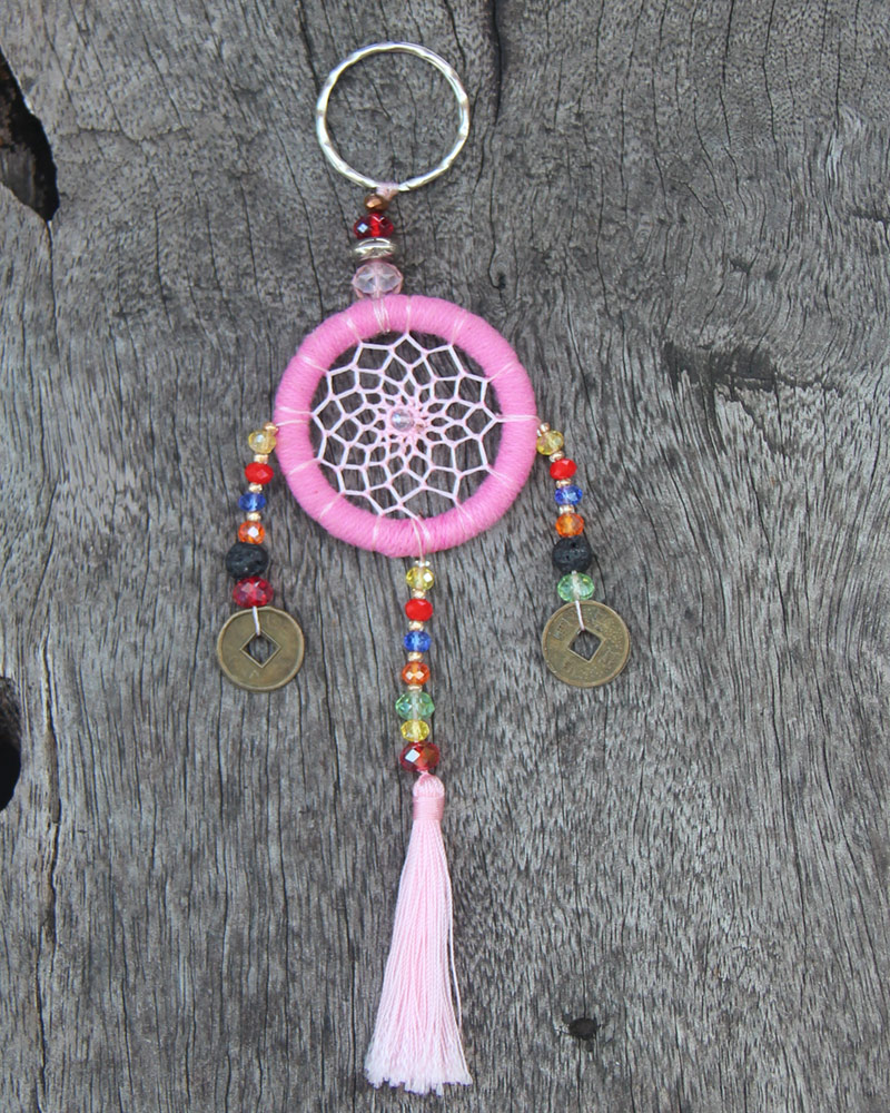 DREAM CATCHER KEY CHAIN: Pink