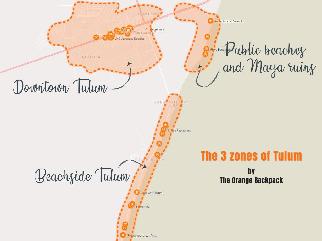 City map Tulum - beachside, downtown and public beaches