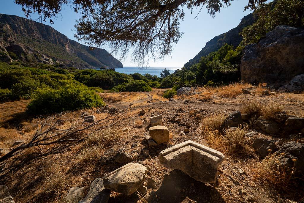 Verloren citis oude ruïnes Lissos Griekenland