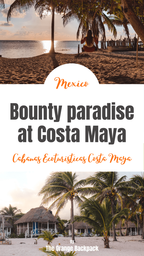 Bounty paradise with beach cabins at Costa Maya in Yucatan Mexico