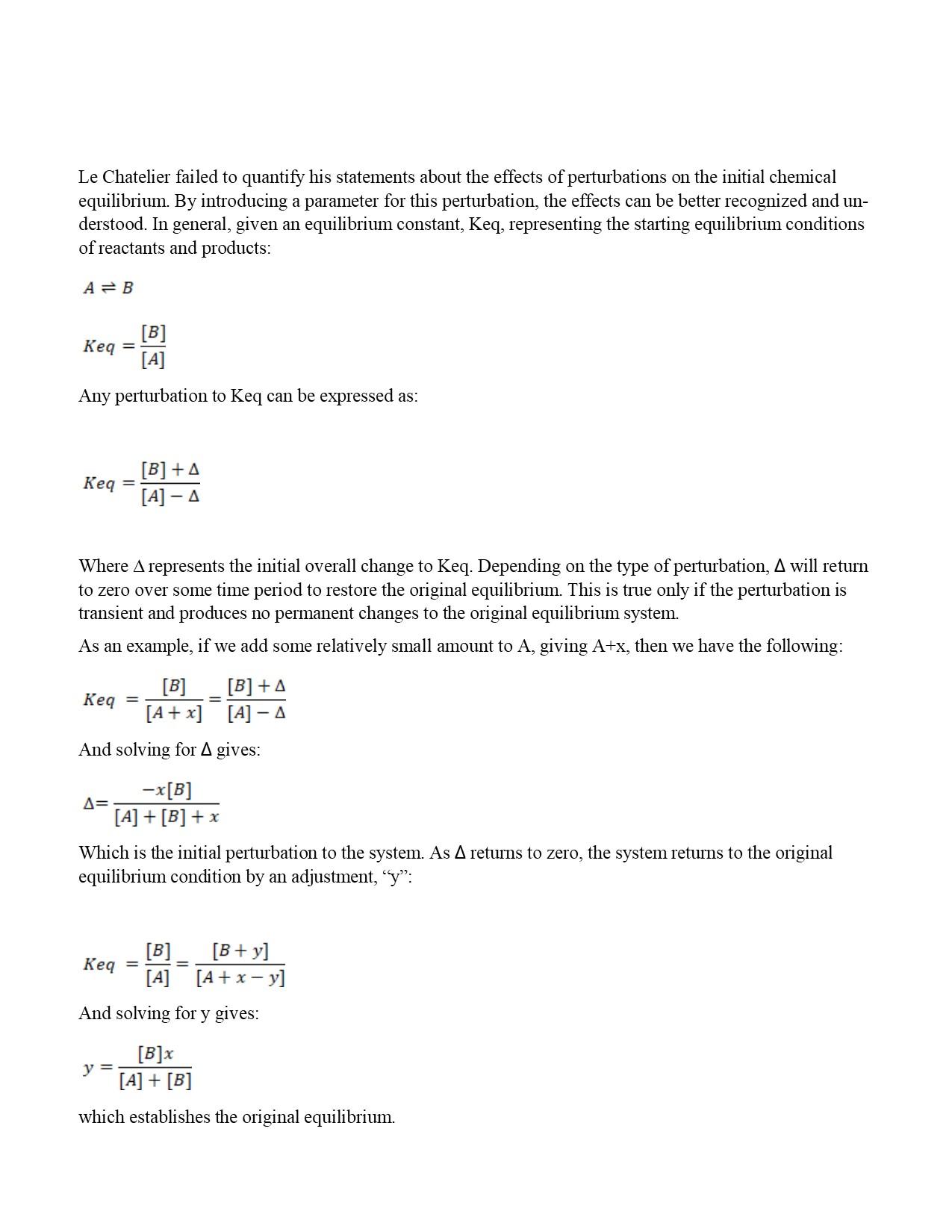 The Quantification Of Le Chatelier S Principle