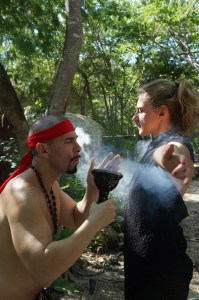 Getting purified by frankincense pre-Temezcal.