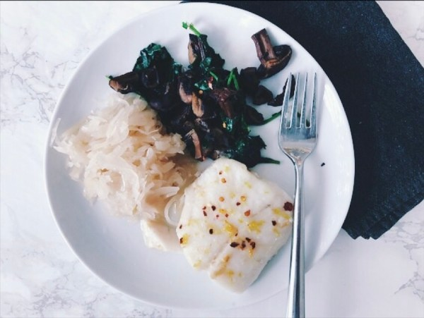 Wild-Halibut with Sautéed Greens and Sauerkraut | The Organic Beauty Blog