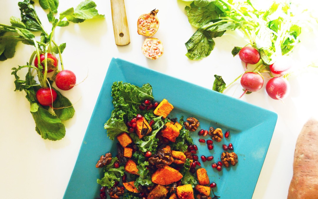 Vegan Roasted Harvest Squash and Candied Pecan Pomegranate Salad