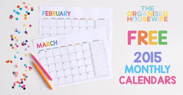 calendar 2015 template monthly