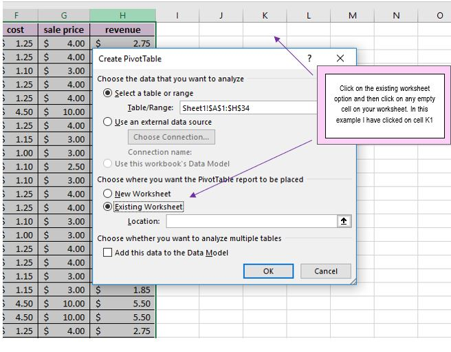 instructions to create pivot table in excel