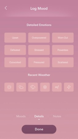 bloom mindfulness app mood check in screen