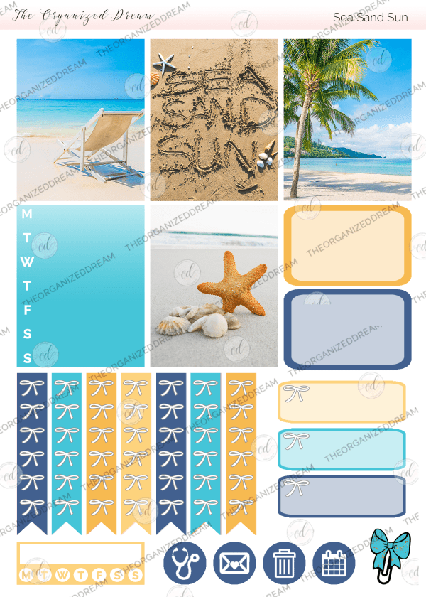 Sea Sand Sun Digital Sticker Kit