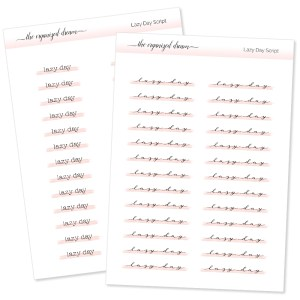 Lazy Day Highlight Script Stickers