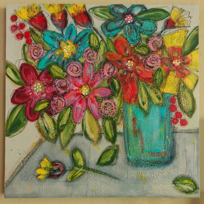 "Contributed PhotoLois Reynolds' Flowers, a 24"" x 24"" acrylic, pastel, pencil painting"