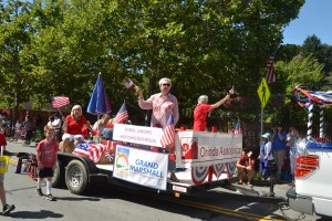 (Sally Hogarty, Photographer)Ann Christofferson (L) and Bobbie Landers were The Orinda Association's Grand Marshalls at the 2019 July 4th parade.