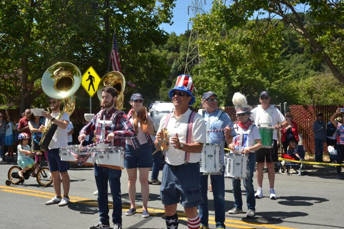 (Sally Hogarty, Photographer)Enthusiastic members of the Orinda All Volunteer Marching Band provide patriotic tunes throughout the parade.