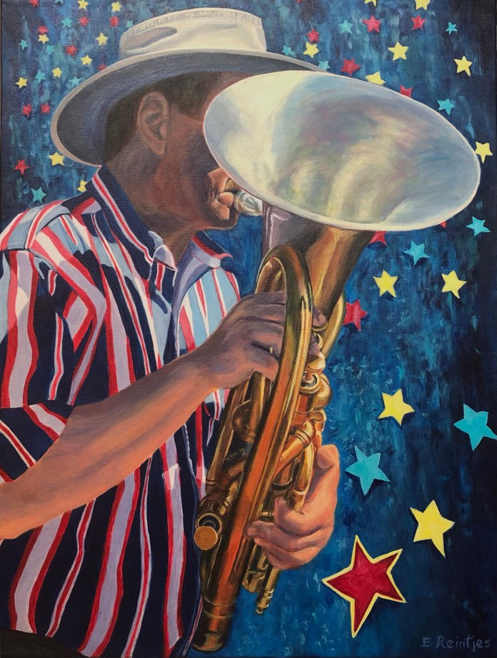 """(Courtesy of Ellen Reintjes) Ellen Reintjes has a series of paintings beginning with the title, """"Name That Tune."""" When you view Name That Tune ___+___ Forever, musicologists will note the musician is playing a euphonium. Reintjes says, """"Think of it as a 4-valve baritone horn. The model is my husband, Don Tatzin, who plays with the Walnut Creek Concert Band."""" Fortunately, filling in the blanks to """"name that tune"""" is easier than naming the instrument."""