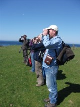 bird watchers on Auskerry B BEll