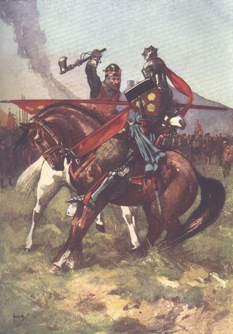 Bruce defeats de Bohun on the eve of Bannockburn,_from_a_children's_history_book