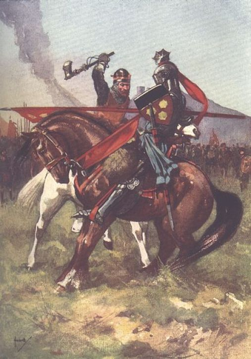 419px-Bruce_defeats_de_Bohun_on_the_eve_of_Bannockburn,_from_a_children's_history_book