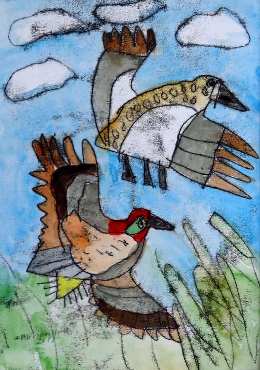 Mirran Hall - Two flying ducks