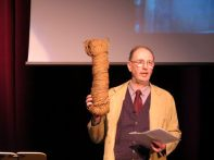 Richard Shearer with one of the products no longer needed in Orkney: a stack net