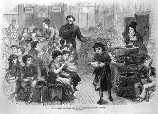 Halfpenny dinners for poor children in East London._Wellcome_L0001135