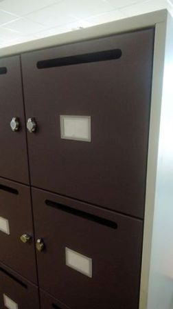 Each office member of staff will get one these lockable work boxes with a mail slot for incoming post/documents.