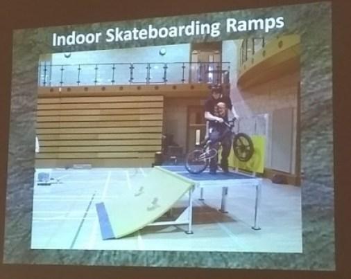 Indoor skateboarding ramps