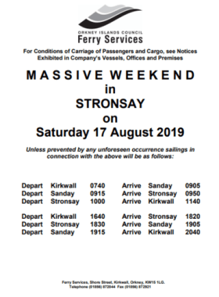 Stronsay Massive weekend ferry times