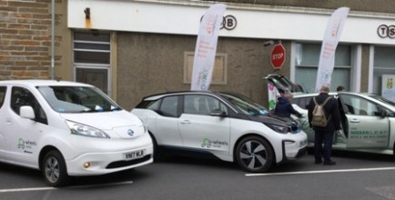 electric vehicles on show in Orkney
