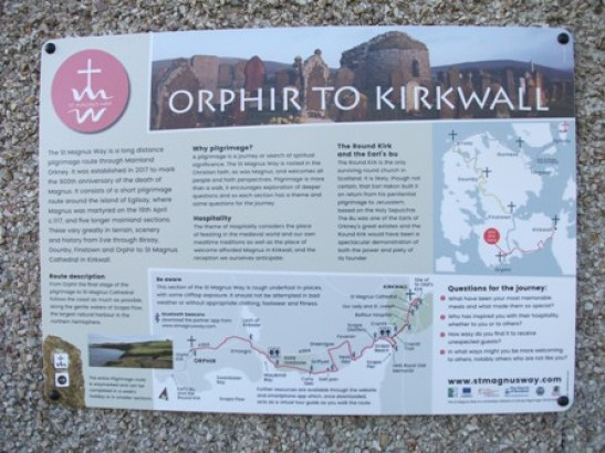 St Magnus Way information board Orphir Bell