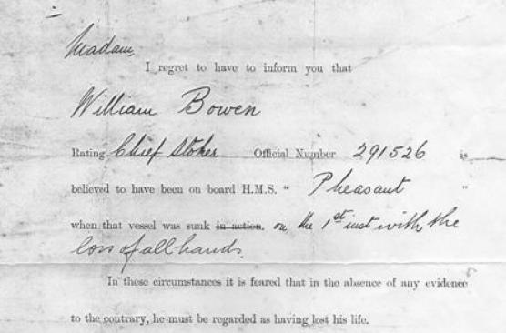 death telegram cropped HMS Pheasant