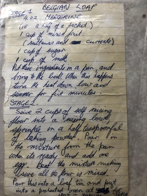 hand written cake recipe