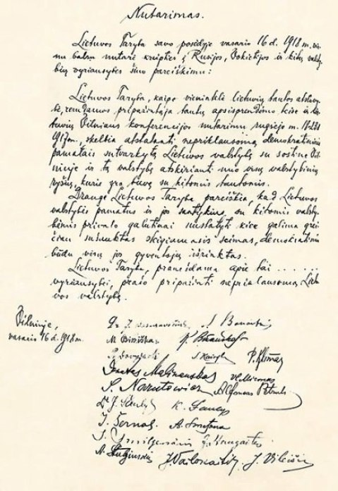 Original Act of Independence of Lithuania hand written in Lithuanian language