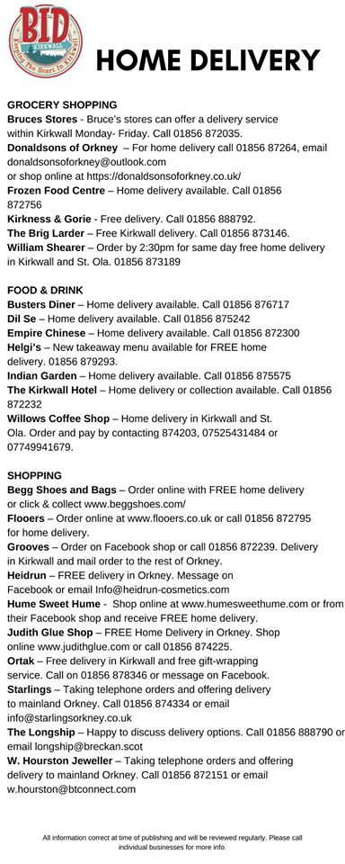 Home delivery Orkney