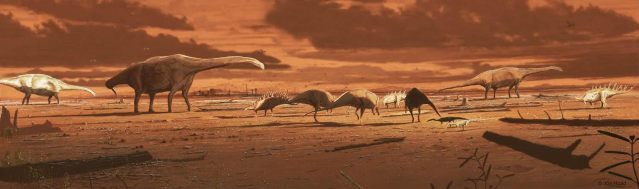 Artist's rendering of a Middle Jurassic coastal plain in what is now the Isle of Skye across which a mixed dinosaur megafauna is migrating (credit: De Polo et al. 2020; Fig. 24; artist Jon Hoad)