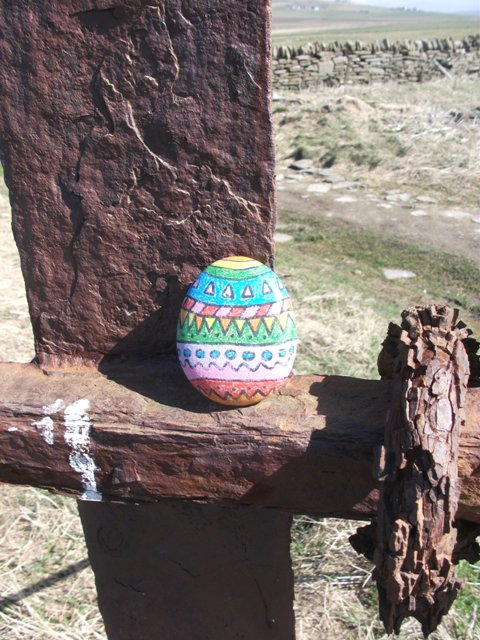 painted stone Easter egg at Marwick Bell