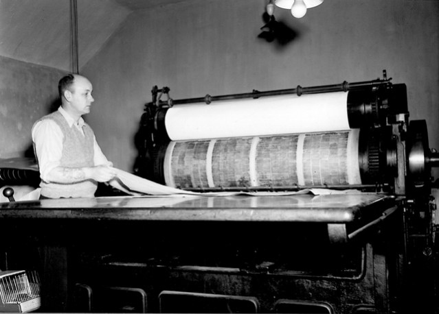 Fred Grieve printing the Orkney Herald