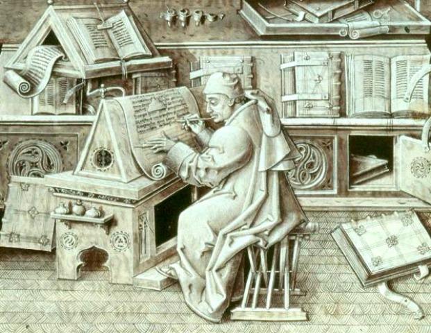 writer at desk in Middle Ages Portrait of Jean Miélot