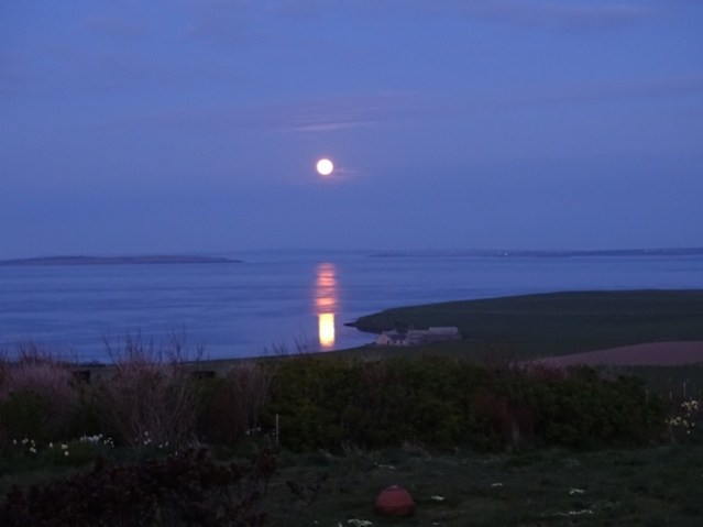 Thursday 7th May 2020.  10 pm. Moon over the Bay of Hinderayre, Orkney credit Mike Bell