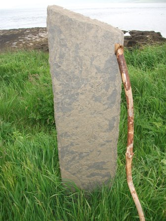 St Magnus Way Evie to Birsay marker stone by Frances Pelly credit Bell