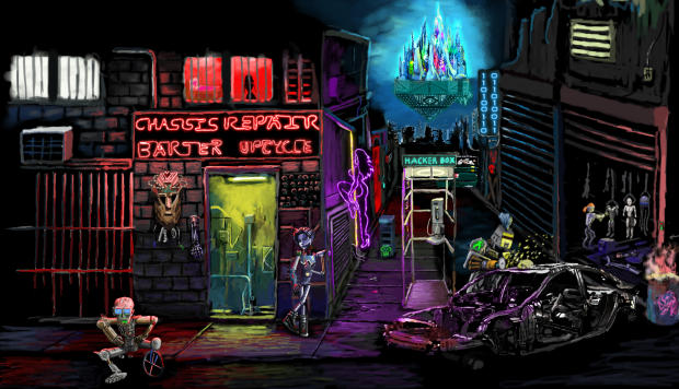 Neofeud screenshot showing a downtown slum scene.
