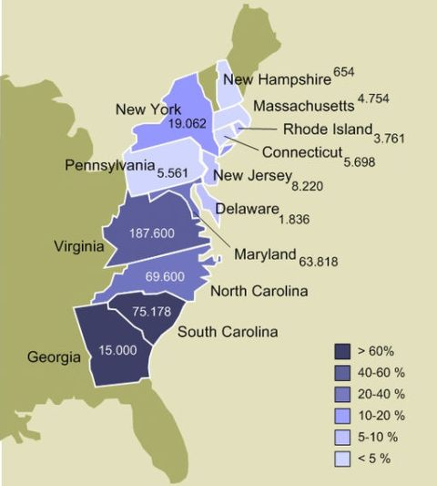 Slavery in the 13 US colonies