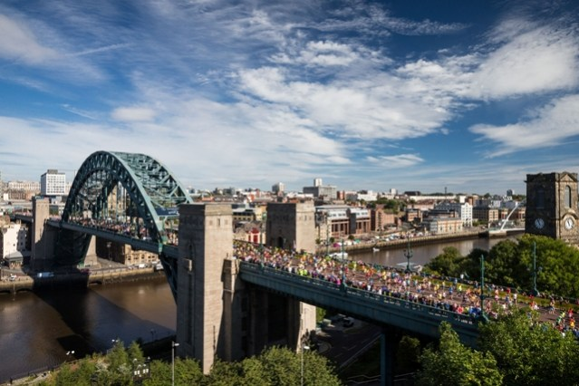 Runners cross the Tyne Bridge at a previous Great North Run. Credit: The Great Run Company