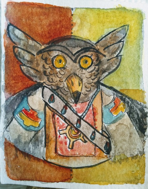 Painting of owl mask credit
