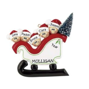 Sleigh Family 5 Personalised Christmas Ornament